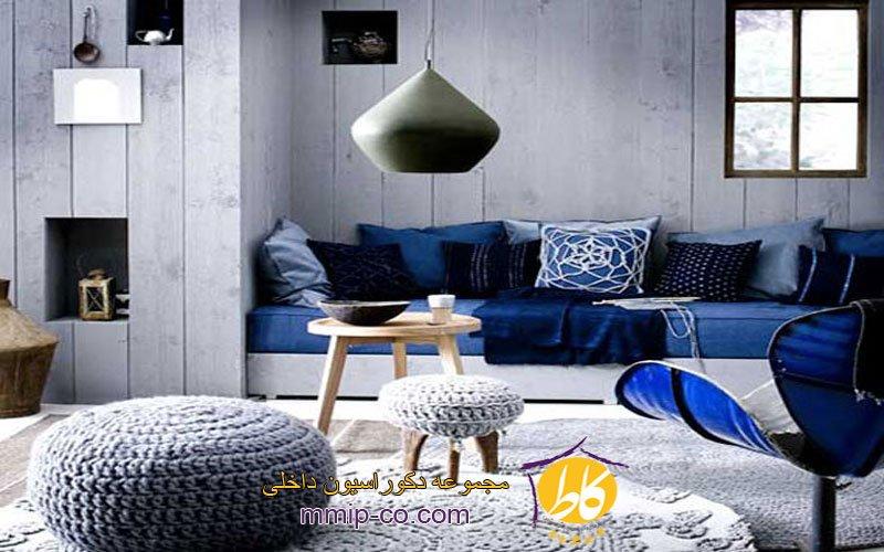 نمونه هایی از اتاق نشیمن با رنگ آبی